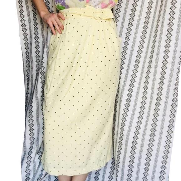 Vintage Dresses & Skirts - 80's does 60's yellow polka dot midi skirt